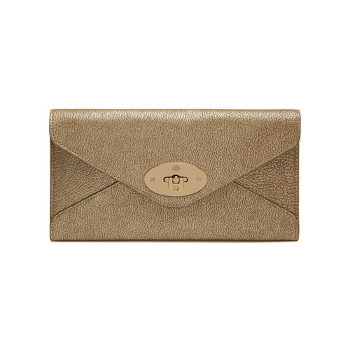 Mulberry Envelope Long Wallet Metallic Mushroom Goat