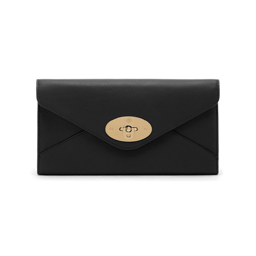 Mulberry Envelope Long Wallet Black Silky Classic Calf
