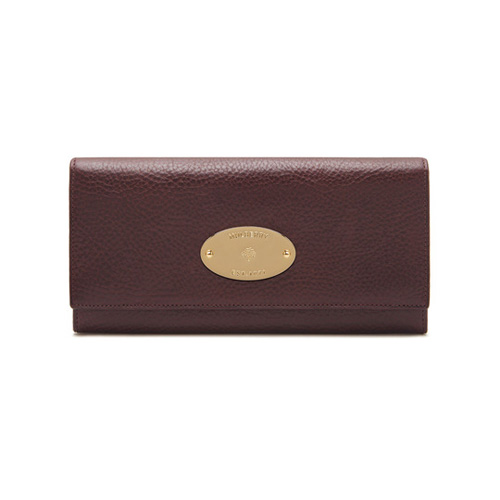 Mulberry Continental Wallet Oxblood Coloured Natural Leather