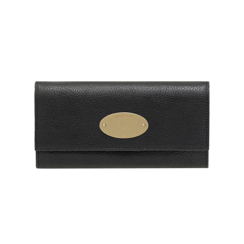 Mulberry Continental Wallet Black Natural Leather With Brass
