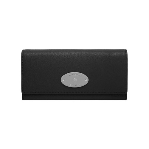 Mulberry Continental Wallet Black Glossy Goat With Nickel