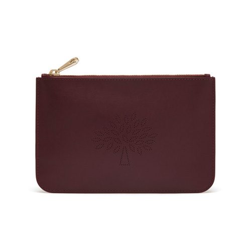 Mulberry Large Blossom Pouch Oxblood Calf Nappa