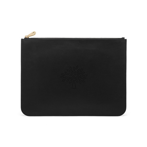 Mulberry Large Blossom Pouch Black Calf Nappa