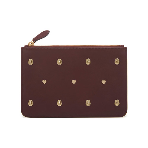 Mulberry Cara Delevingne Small Pouch Oxblood Silky Classic Calf with Rivets