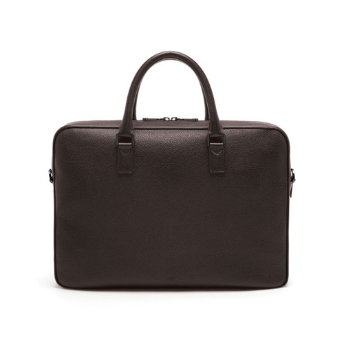 Mulberry Theo Day Document Case Chocolate Small Classic Grain