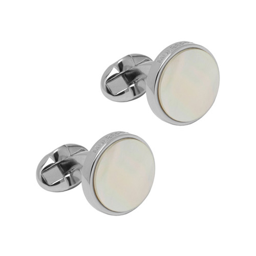 Mulberry Semi Precious Round Cufflinks Silver Plated & Mother of Pearl