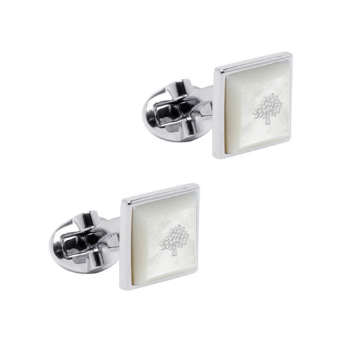 Mulberry Tapered Square Cufflinks Mother of Pearl Silver Plated