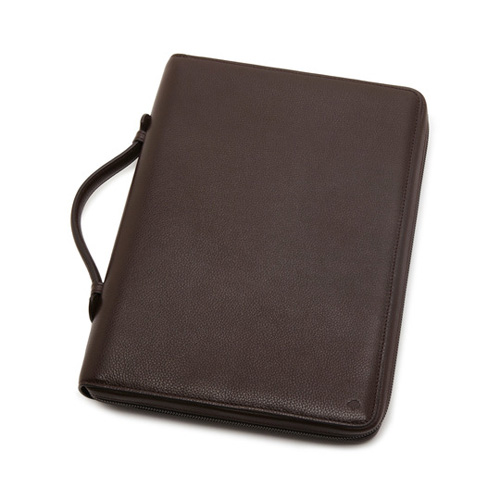 Mulberry Zip Around Document Folio Chocolate Small Classic Grain