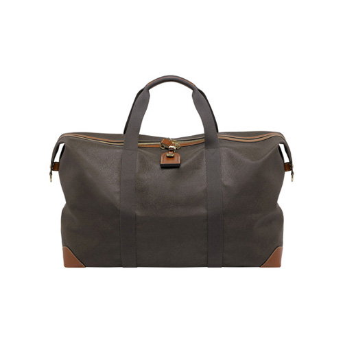Mulberry Large Clipper Mole Scotchgrain With Cognac Trim