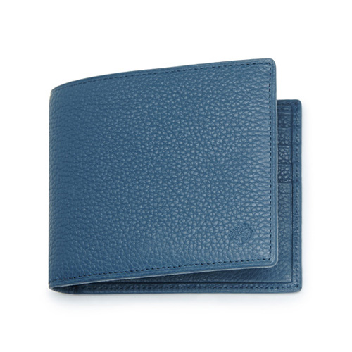Mulberry 8 Card Wallet Steel Blue Small Classic Grain