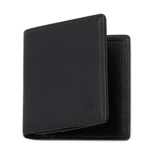 Mulberry Mini Tri Fold Wallet Black Natural Leather
