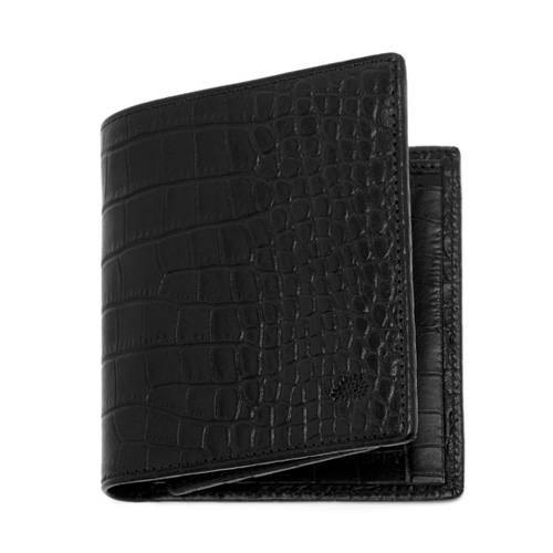 Mulberry Mini Tri Fold Wallet Black Croc Print