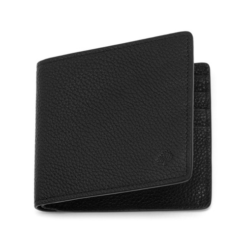 Mulberry Slim 6 Card Wallet Black Small Classic Grain