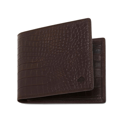 Mulberry 8 Card Wallet Chocolate Croc Print