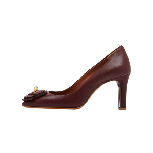 Mulberry Kensington Mid Heel Pump Oxblood Calf & Saddle Leather