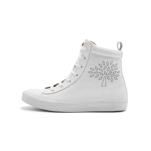 Mulberry High Top Perforated Sneakers Ivory Calf