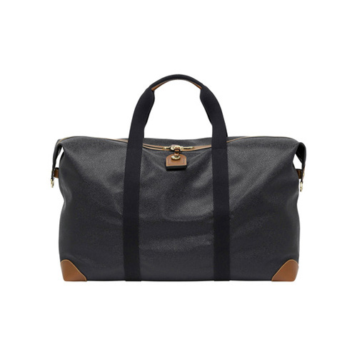 Mulberry Large Clipper Black Scotchgrain With Cognac Trim