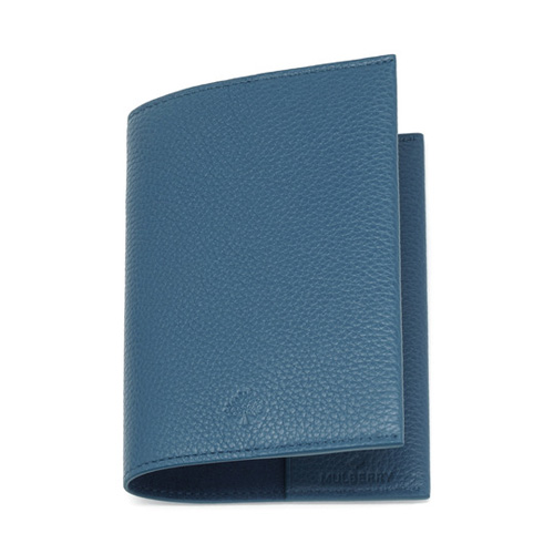 Mulberry Passport Cover Steel Blue Small Classic Grain