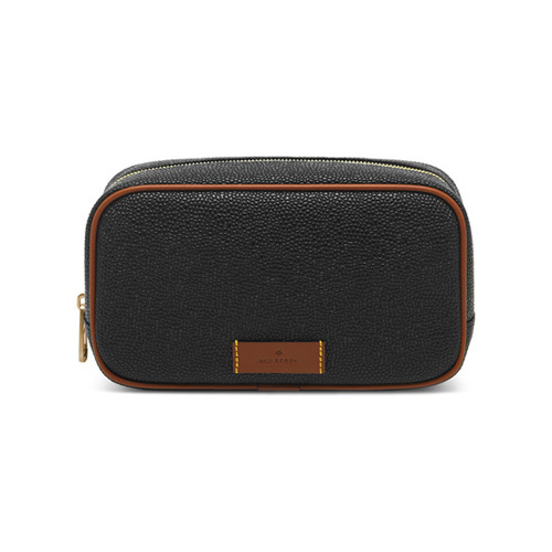 Mulberry Wash Case Black Scotchgrain With Cognac Detailing