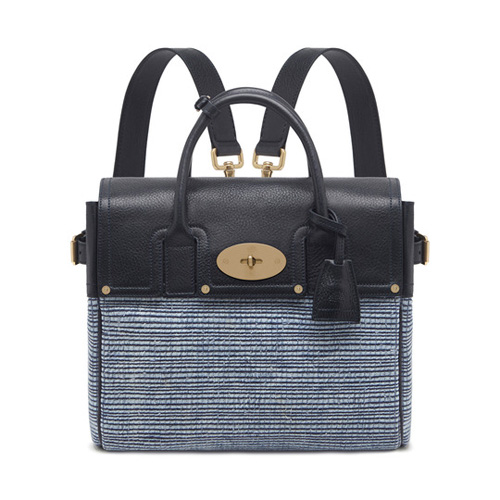 Mulberry Cara Delevingne Bag Midnight Blue Mixed Denim & Natural Leather