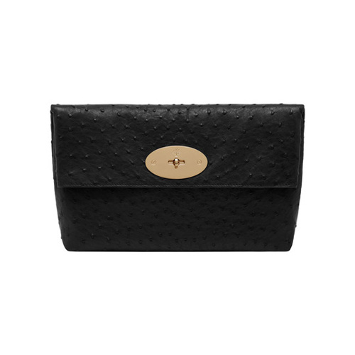 Mulberry Clemmie Clutch Black Ostrich