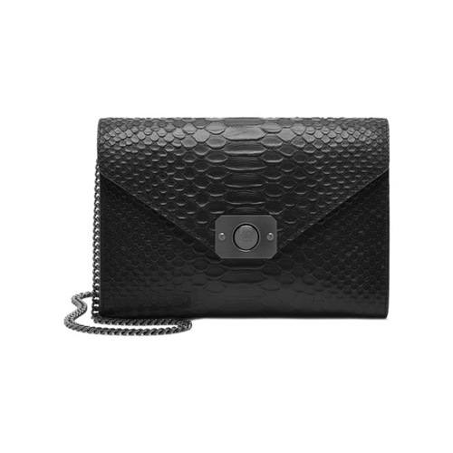 Mulberry Delphie Clutch Black Silky Snake Leather