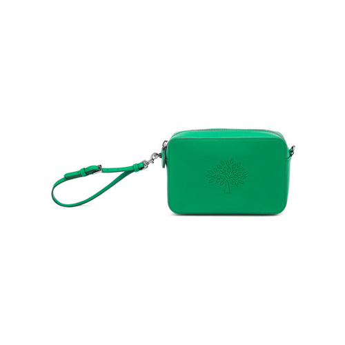 Mulberry Blossom Pochette With Strap Jungle Green Calf Nappa