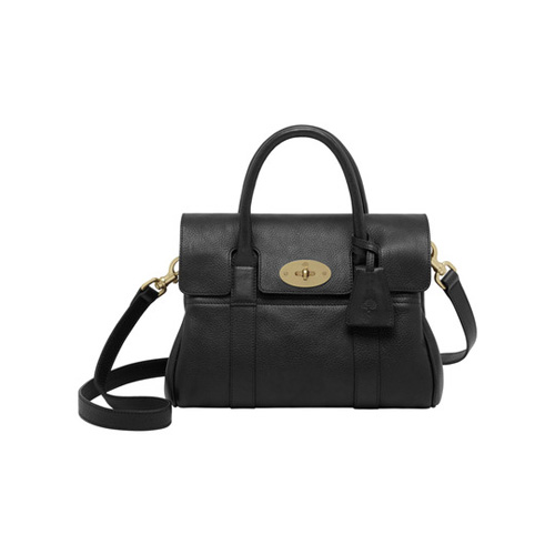 Mulberry Small Bayswater Satchel Black Natural Leather With Brass