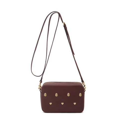 Mulberry Cara Delevingne Strap Pochette Oxblood Silky Classic Calf with Rivets