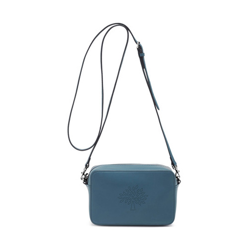 Mulberry Blossom Pochette with Strap Steel Blue Calf Nappa