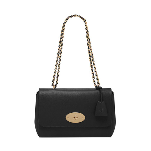 Mulberry Medium Lily Black Glossy Goat With Soft Gold