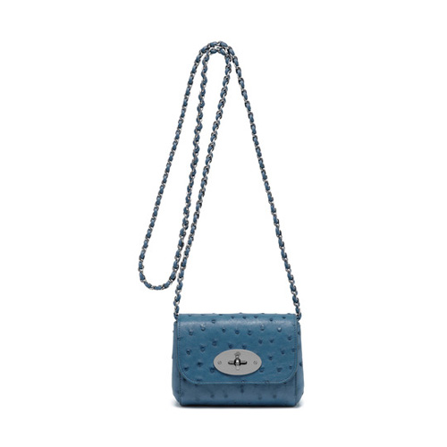 Mulberry Mini Lily Steel Blue Ostrich