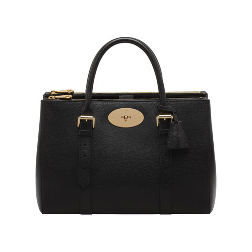 Mulberry Bayswater Double Zip Tote Black Shiny Goat