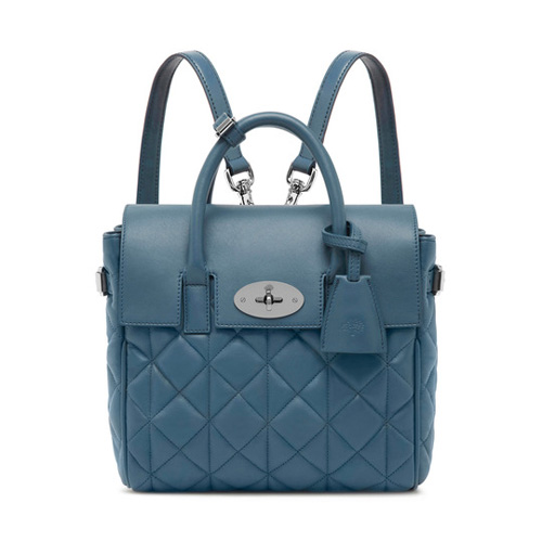 Mulberry Mini Cara Delevingne Bag Steel Blue Quilted Nappa