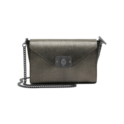 Mulberry Small Delphie Dark Silver Metallic Goat & Black Flat Calf Leather
