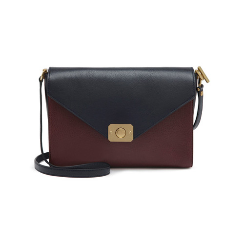 Mulberry Delphie Midnight Blue, Oxblood & Mixed Denim with Natural Leather