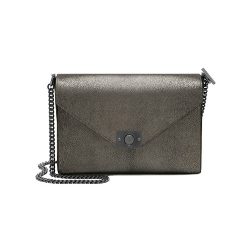 Mulberry Delphie Dark Silver Metallic Goat & Black Flat Calf Leather