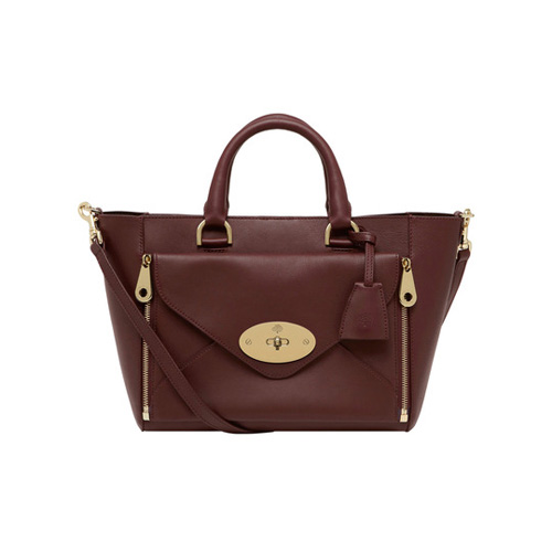 Mulberry Small Willow Tote Oxblood Silky Classic Calf with Soft Gold