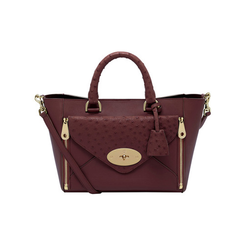 Mulberry Small Willow Tote Oxblood Ostrich & Silky Classic Calf