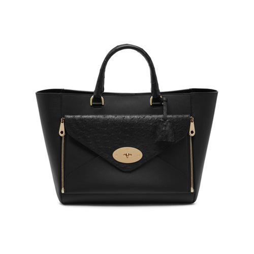 Mulberry Willow Tote Black Silky Classic Calf & Ostrich