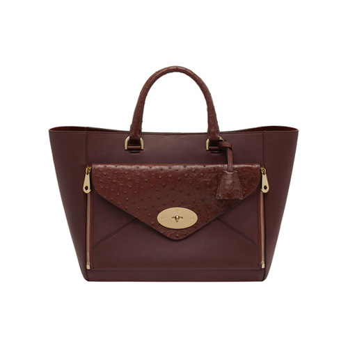 Mulberry Willow Tote Oxblood Ostrich & Silky Classic Calf