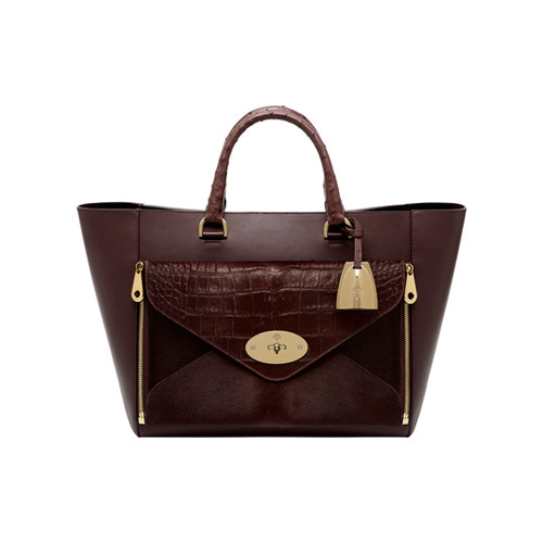 Mulberry Willow Tote Oxblood Mixed Exotic