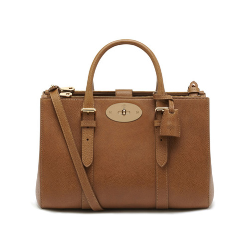 Mulberry Small Bayswater Double Zip Tote Oak Natural Leather