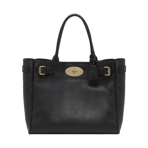 Mulberry Bayswater Tote Black Natural Leather With Brass