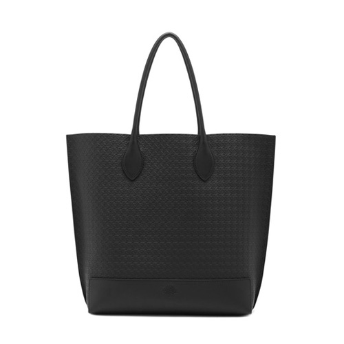 Mulberry Blossom Tote Black Calf Basket Weave Embossed Nappa