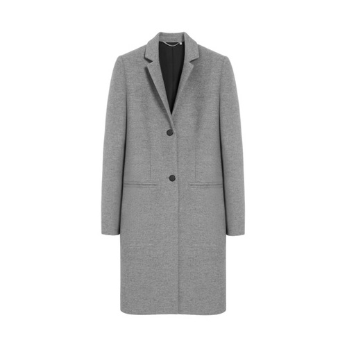 Mulberry Paddington Coat Light Grey Marl Classic Wool Coating