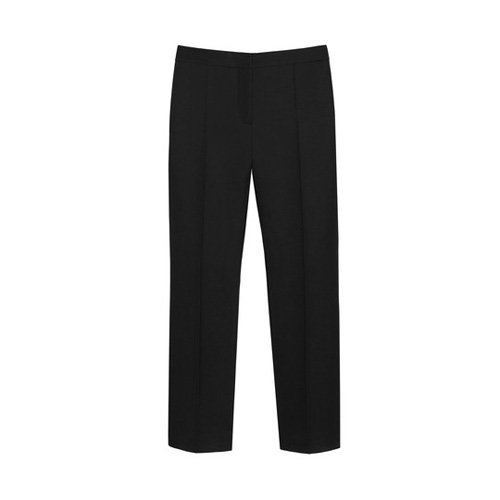 Mulberry Ankle Length Trousers Black Double Polished Wool Silk