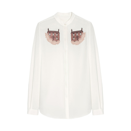 Mulberry Embroidered Kew Shirt Cream Crepe de Chine