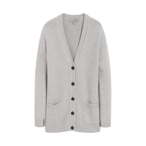 Mulberry Guernsey Cardigan Light Grey Marl Merino Blend